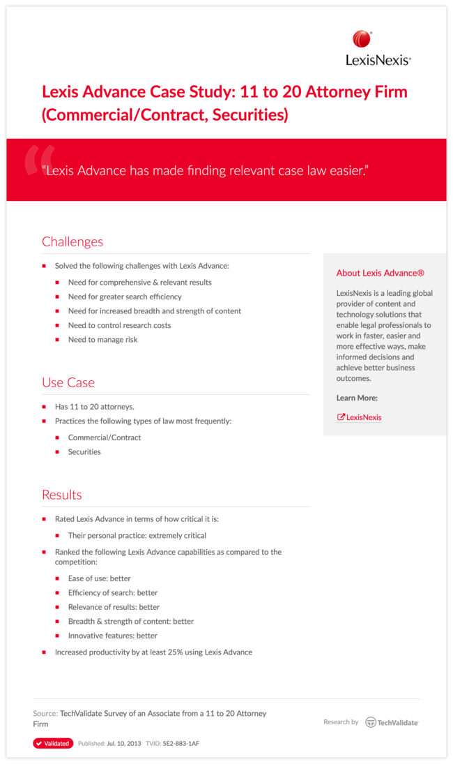 Lexis Advance Case Study: 11 to 20 Attorney Firm (Commercial/Contract, Securities)