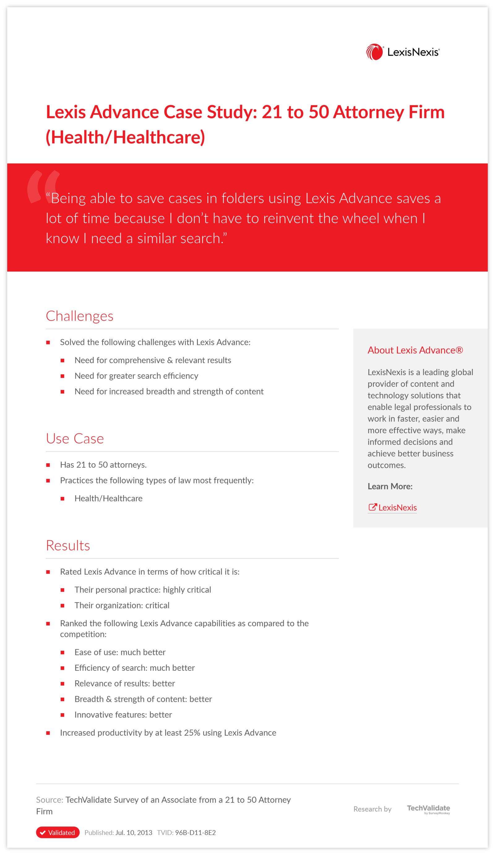 Lexis Advance Case Study: 21 to 50 Attorney Firm (Health/Healthcare)