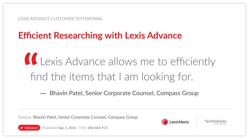 Efficient Researching with Lexis Advance