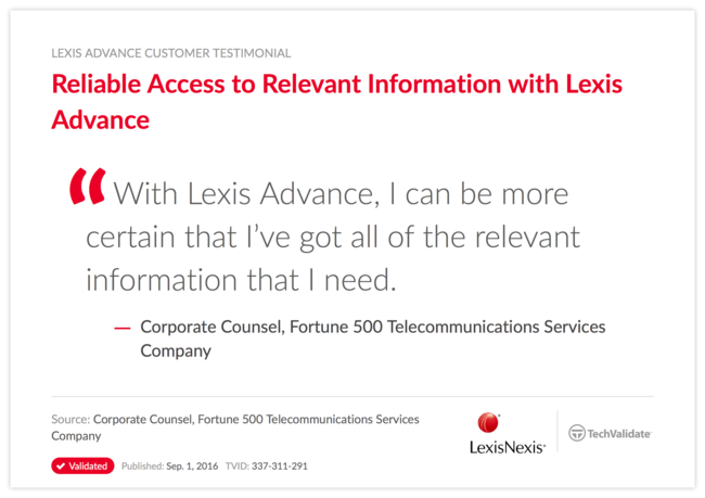 Reliable Access to Relevant Information with Lexis Advance