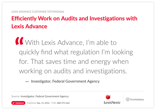 Efficiently Work on Audits and Investigations with Lexis Advance