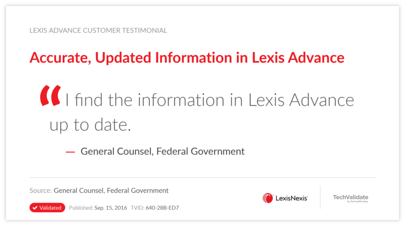 Accurate, Updated Information in Lexis Advance