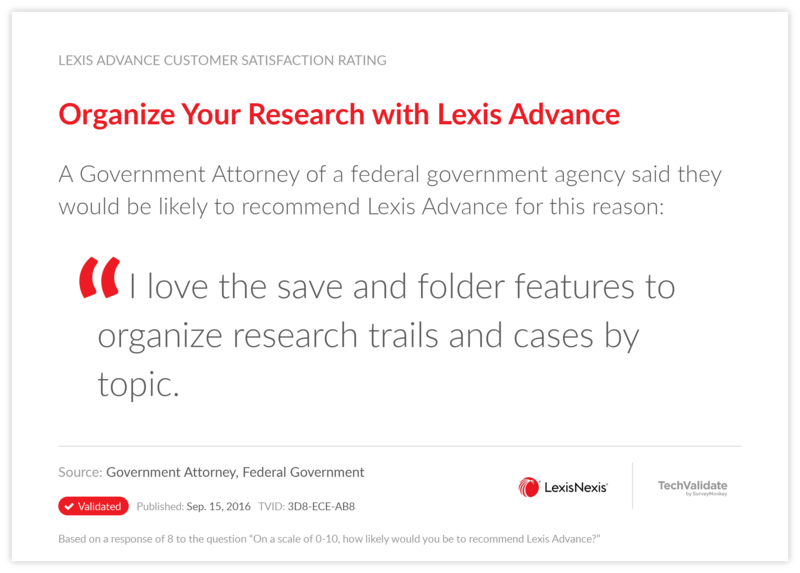 Organize Your Research with Lexis Advance