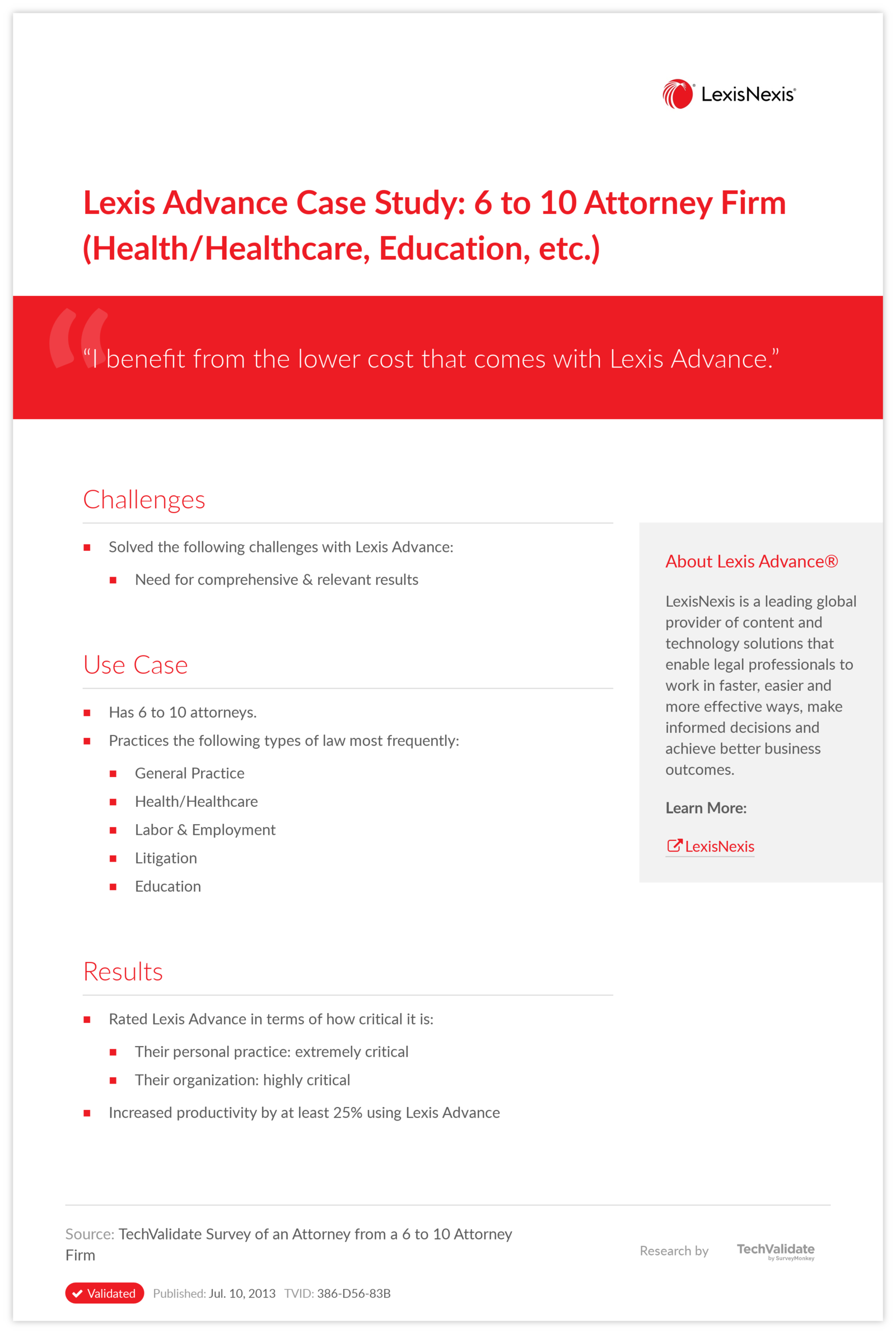 Lexis Advance Case Study: 6 to 10 Attorney Firm (Health/Healthcare, Education, etc.)