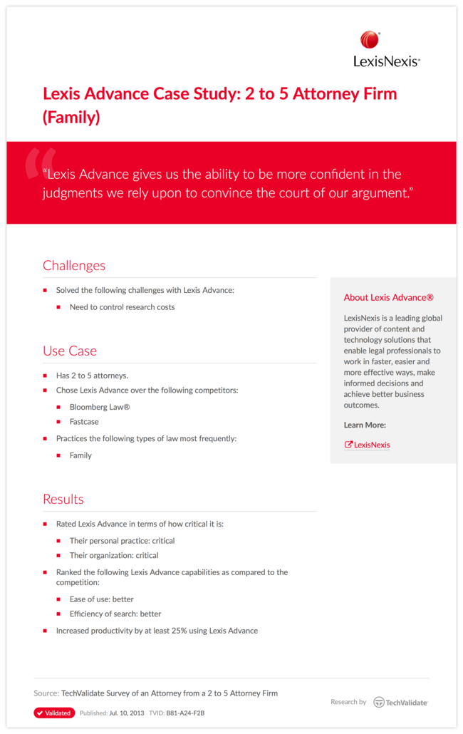 Lexis Advance Case Study: 2 to 5 Attorney Firm (Family)