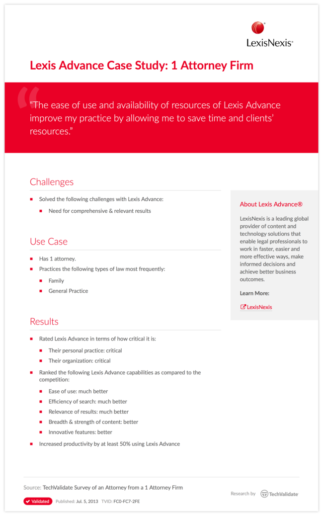 Lexis Advance Case Study: 1 Attorney Firm