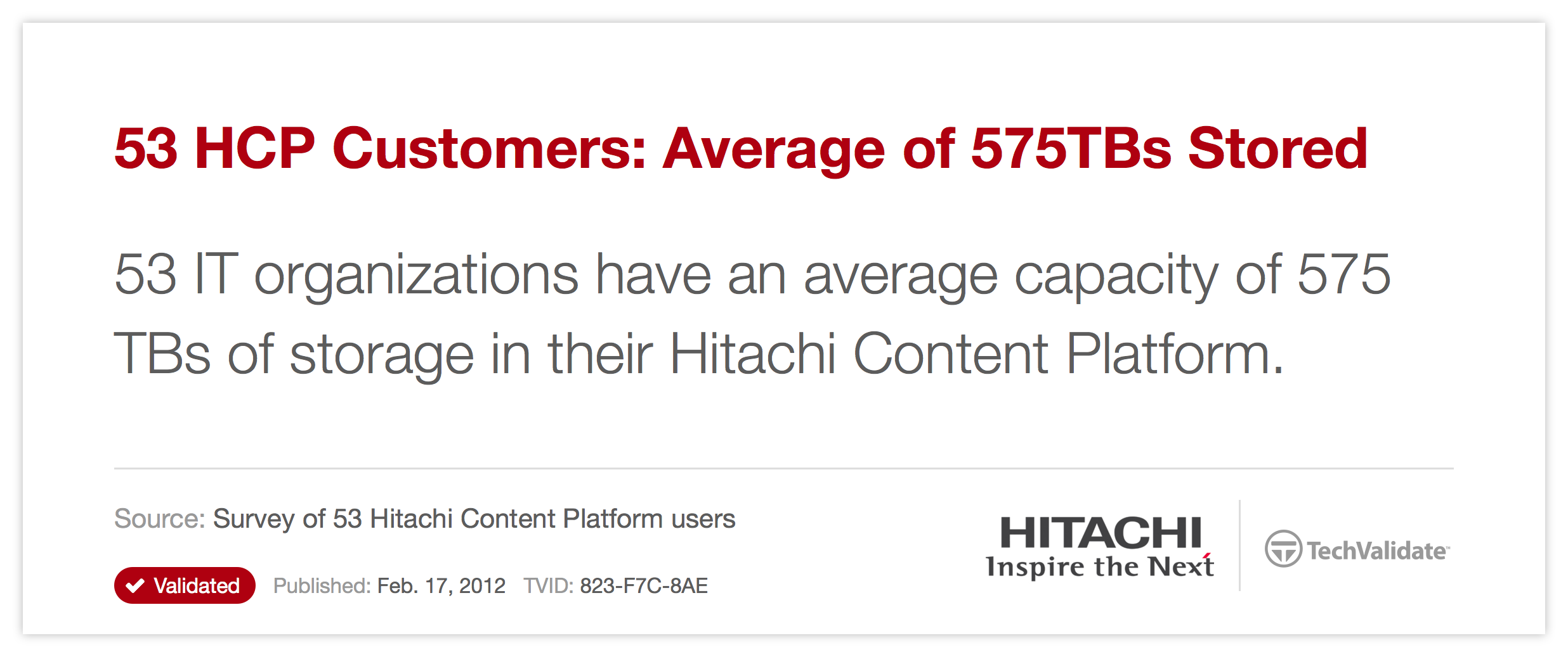 53 HCP Customers: Average of 575TBs Stored
