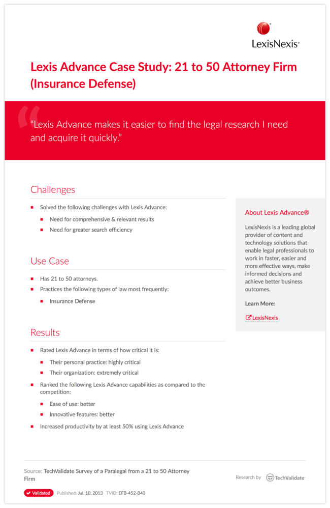 Lexis Advance Case Study: 21 to 50 Attorney Firm (Insurance Defense)