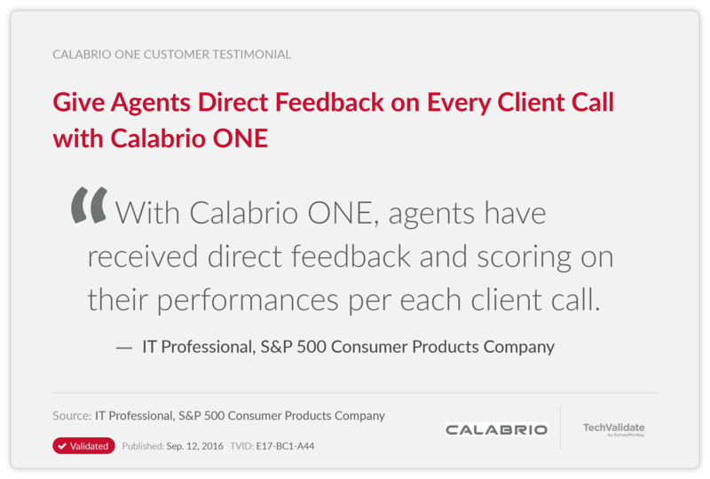 Give Agents Direct Feedback on Every Client Call with Calabrio ONE