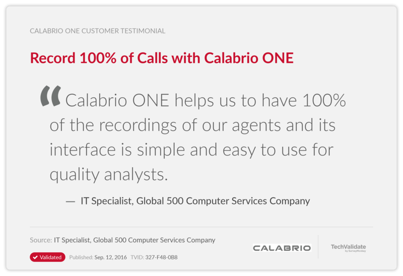 Record 100% of Calls with Calabrio ONE