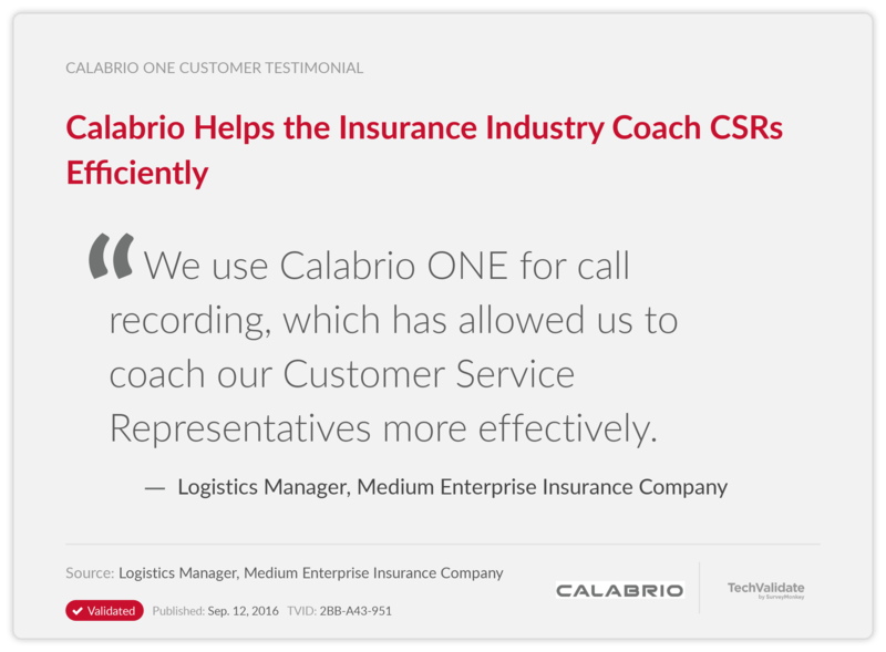 Calabrio Helps the Insurance Industry Coach CSRs Efficiently