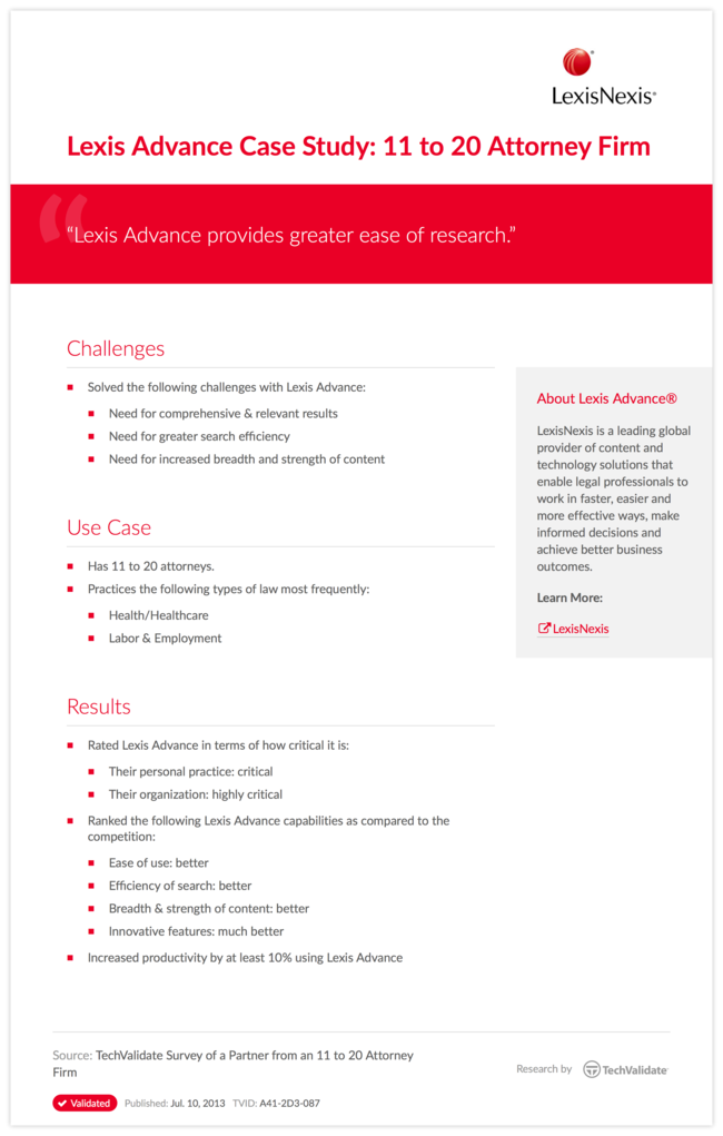 Lexis Advance Case Study: 11 to 20 Attorney Firm