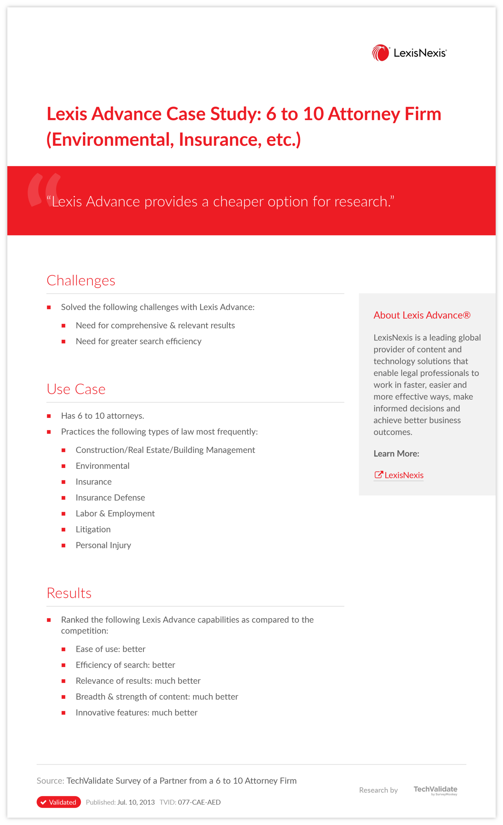 Lexis Advance Case Study: 6 to 10 Attorney Firm (Environmental, Insurance, etc.)