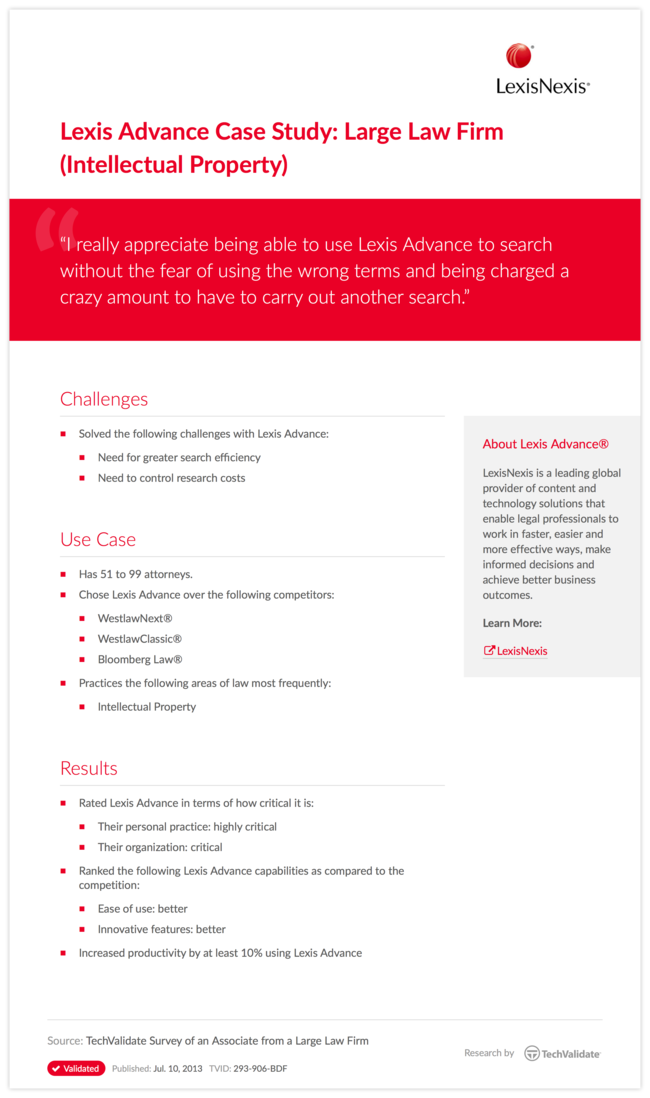 Lexis Advance Case Study: Large Law Firm (Intellectual Property)