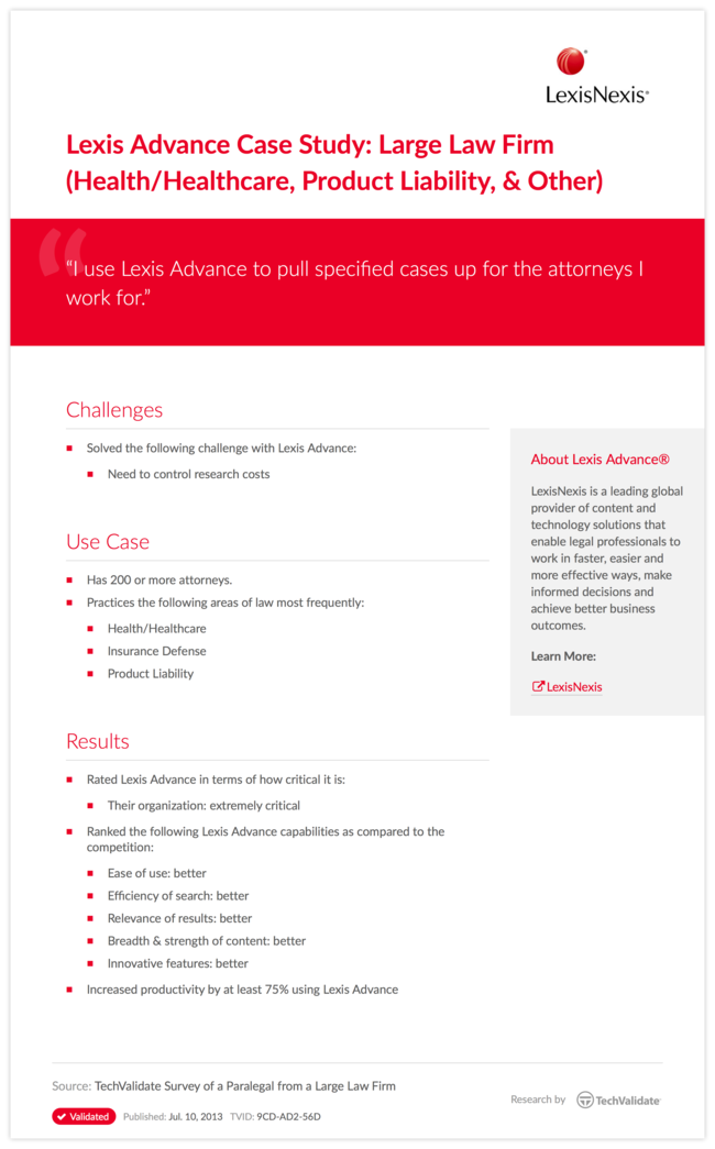 Lexis Advance Case Study: Large Law Firm (Health/Healthcare, Product Liability, & Other)