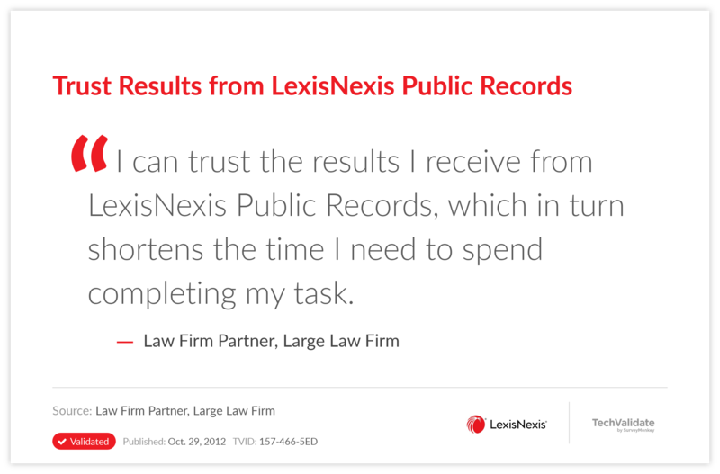 Trust Results from LexisNexis Public Records