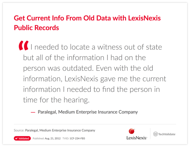 Get Current Info From Old Data with LexisNexis Public Records