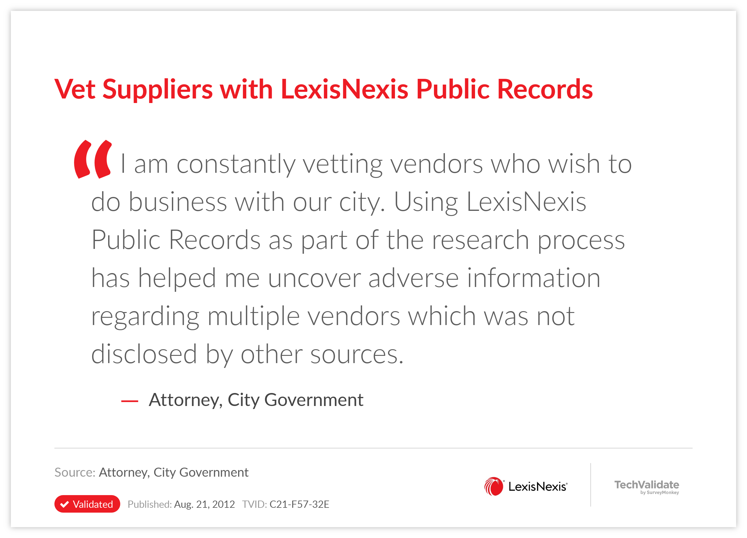Vet Suppliers with LexisNexis Public Records