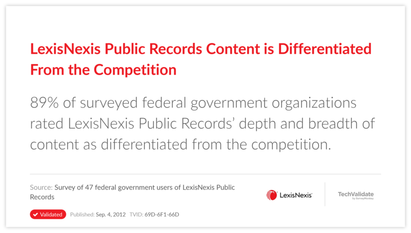 LexisNexis Public Records Content is Differentiated From the Competition