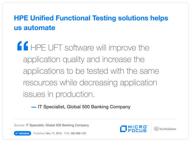 HPE Unified Functional Testing solutions helps us automate