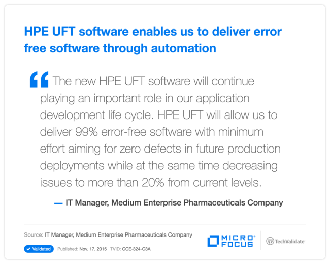 HPE UFT software enables us to deliver error free software through automation