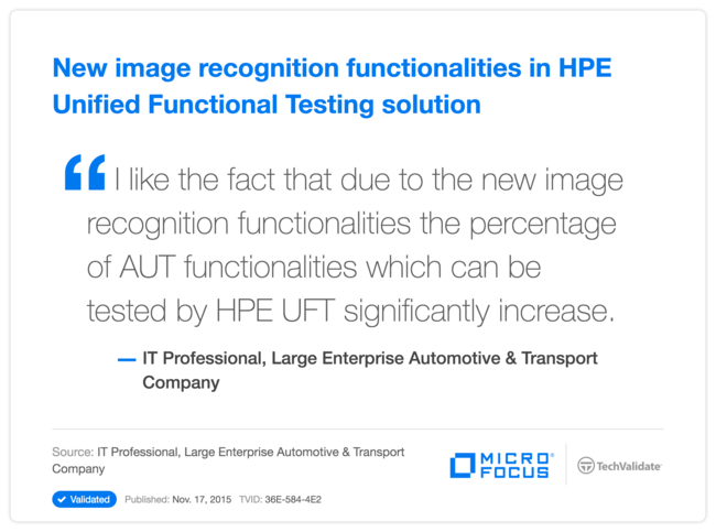New image recognition functionalities in HPE Unified Functional Testing solution