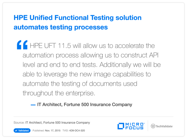 HPE Unified Functional Testing solution automates testing processes