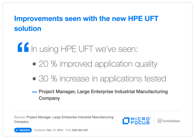 Improvements seen with the new HPE UFT solution