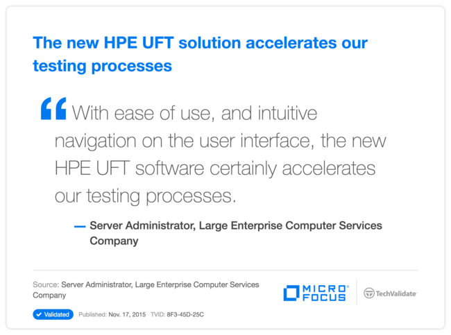 The new HPE UFT solution accelerates our testing processes