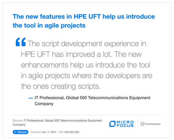 The new features in HPE UFT help us introduce the tool in agile projects