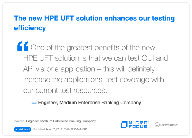 The new HPE UFT solution enhances our testing efficiency