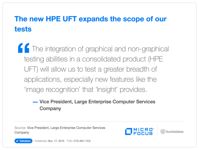 The new HPE UFT expands the scope of our tests