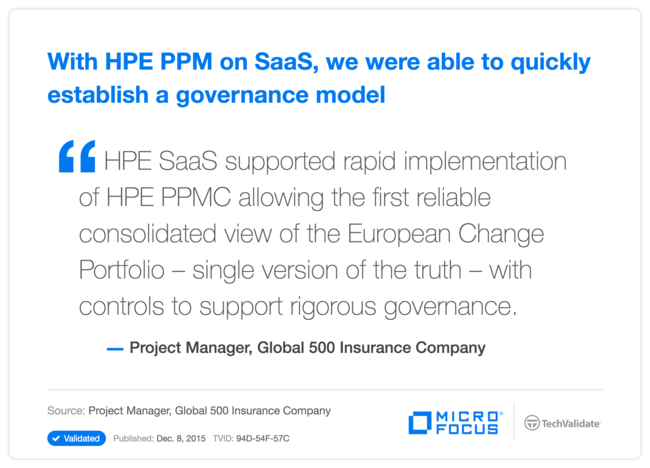 With HPE PPM on SaaS, we were able to quickly establish a governance model