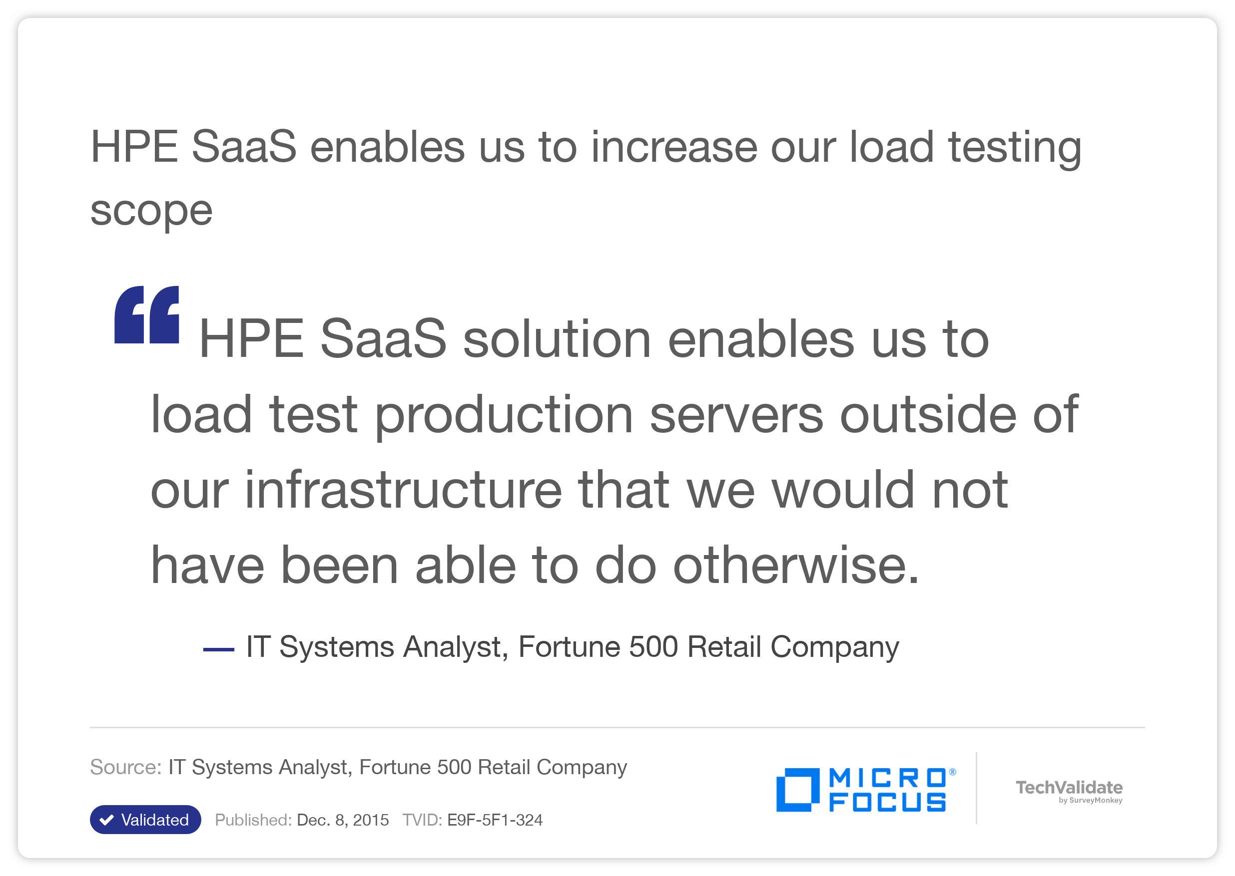 HPE SaaS enables us to increase our load testing scope