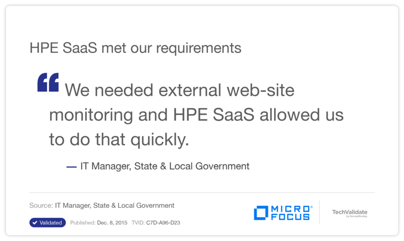 HPE SaaS met our requirements