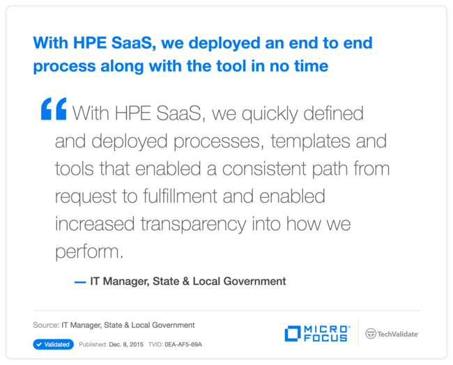 With HPE SaaS, we deployed an end to end process along with the tool in no time