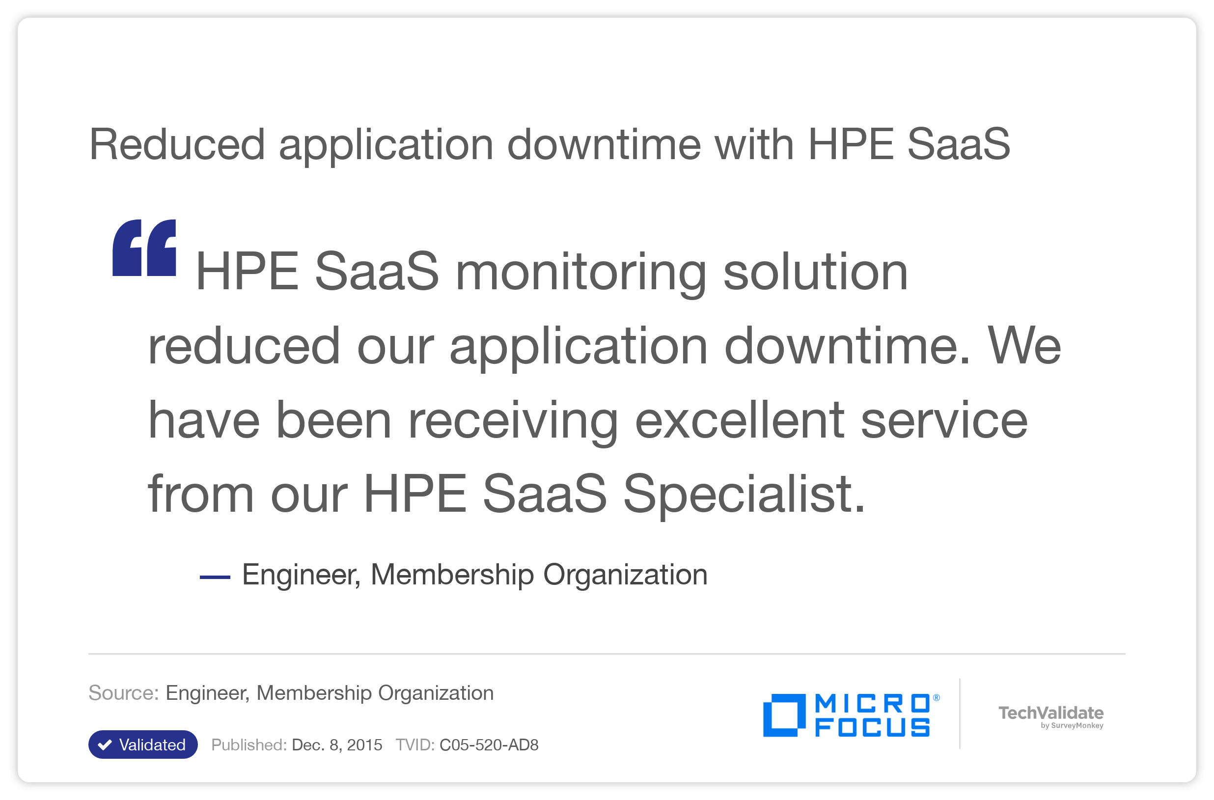 Reduced application downtime with HPE SaaS