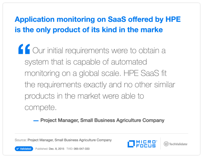 Application monitoring on SaaS offered by HPE is the only product of its kind in the marke