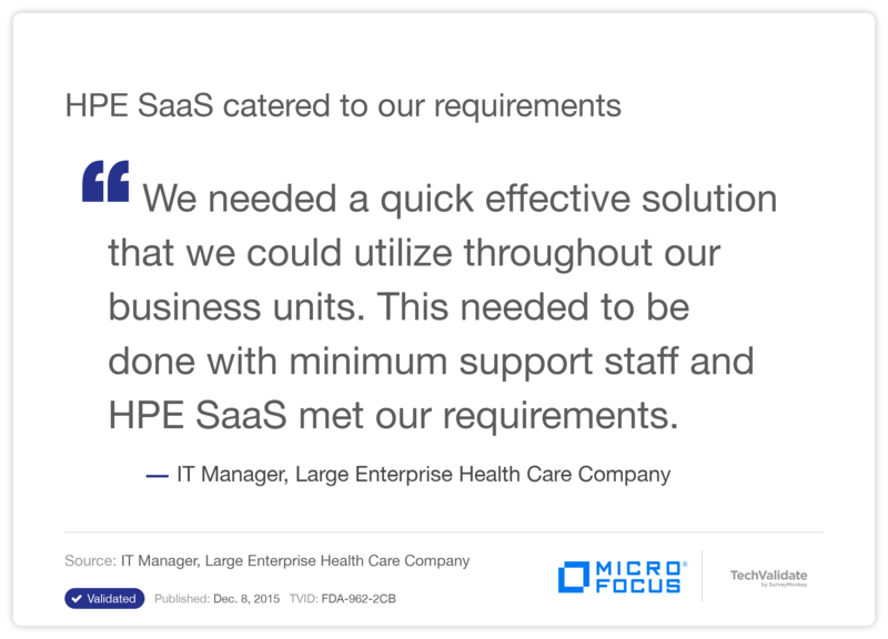 HPE SaaS catered to our requirements