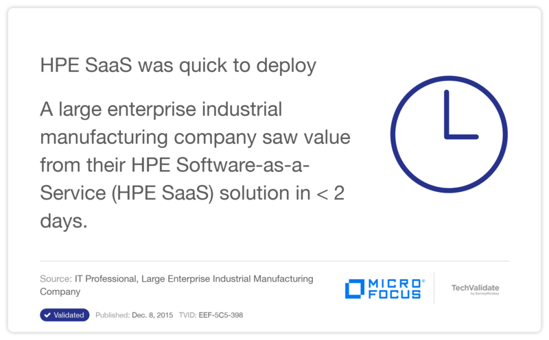 HPE SaaS was quick to deploy