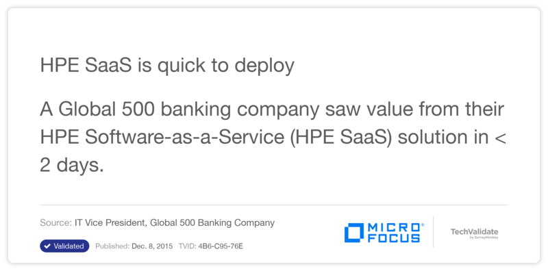 HPE SaaS is quick to deploy