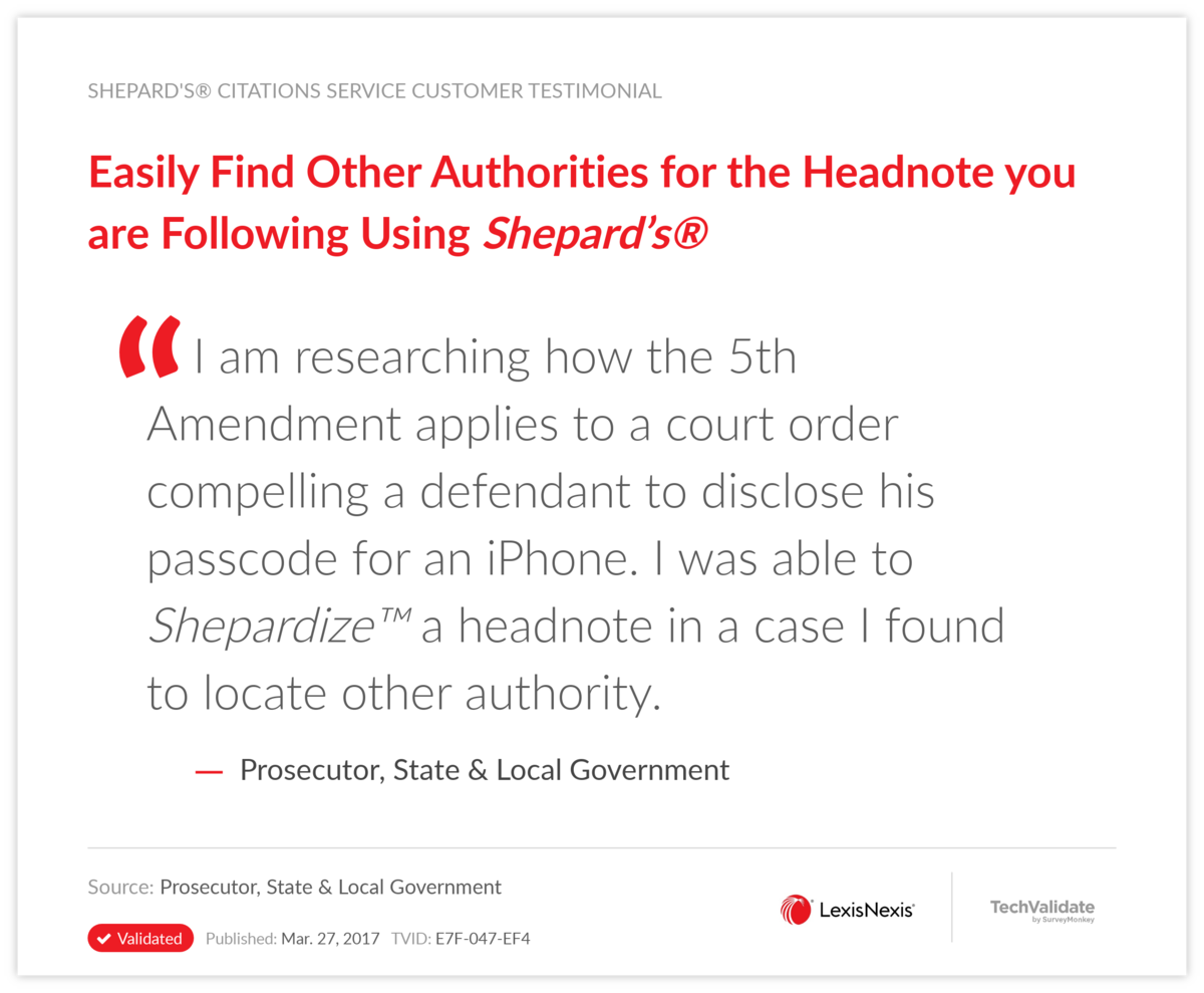 Easily Find Other Authorities for the Headnote you are Following Using Shepard's®