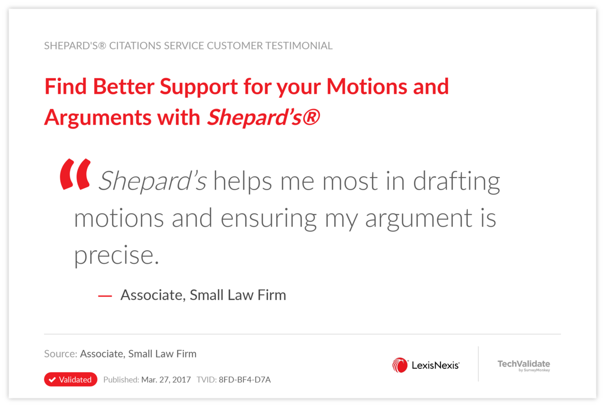 Find Better Support for your Motions and Arguments with Shepard's®