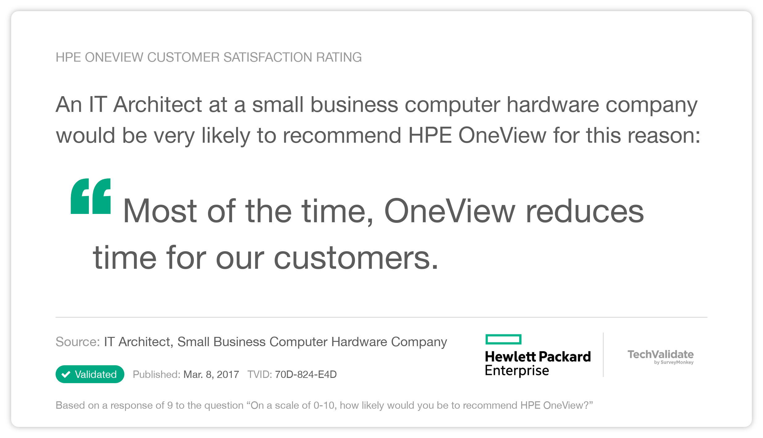HPE OneView Customer Satisfaction Rating