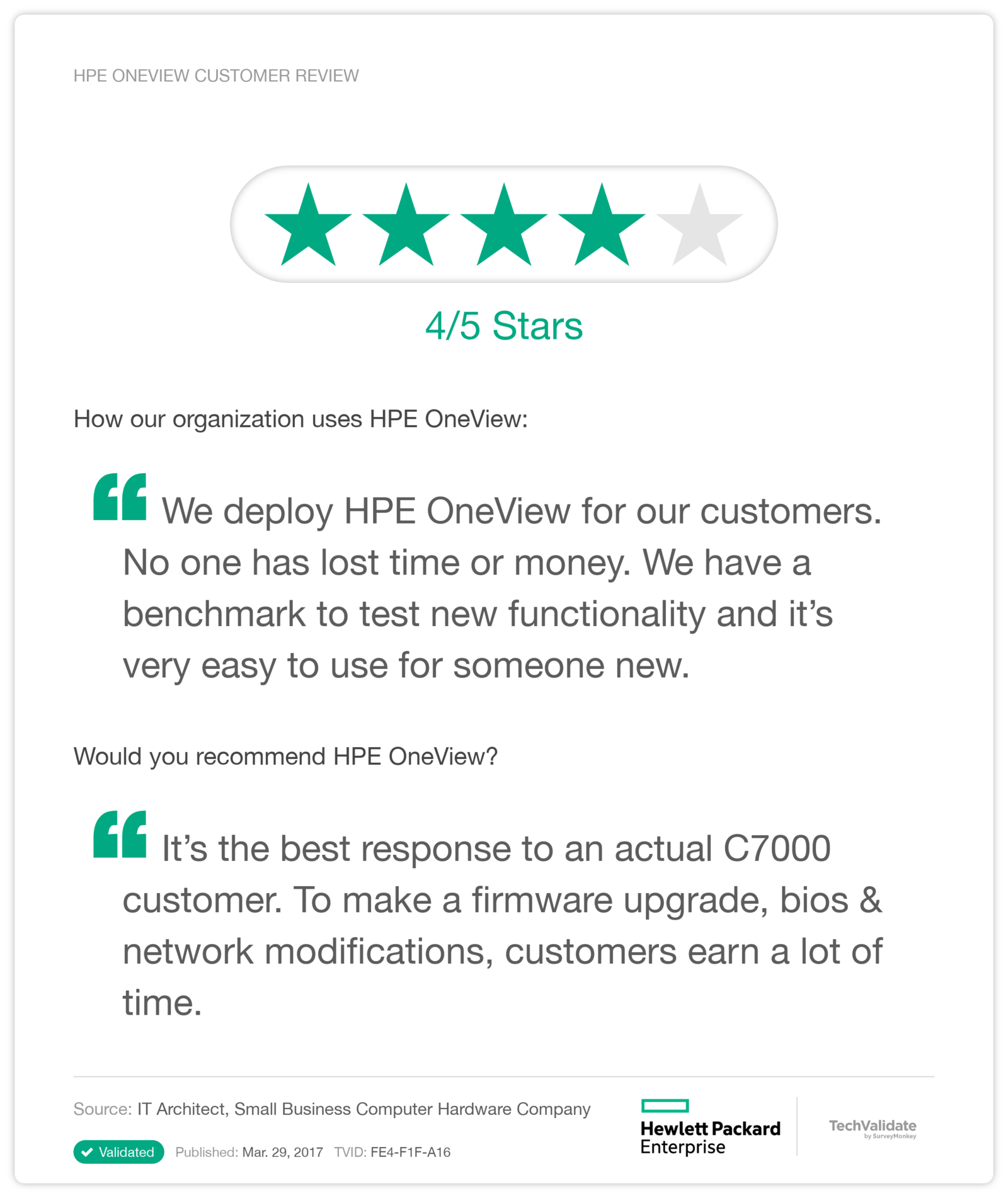 HPE OneView Customer Review