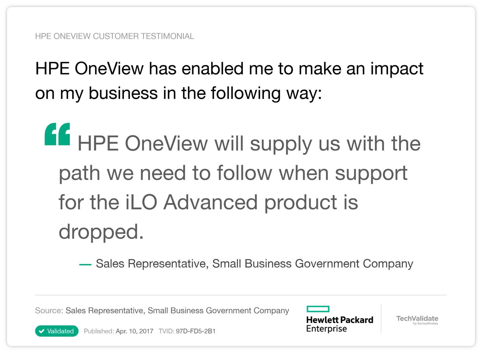HPE OneView has enabled me to make an impact on my business in the following way:
