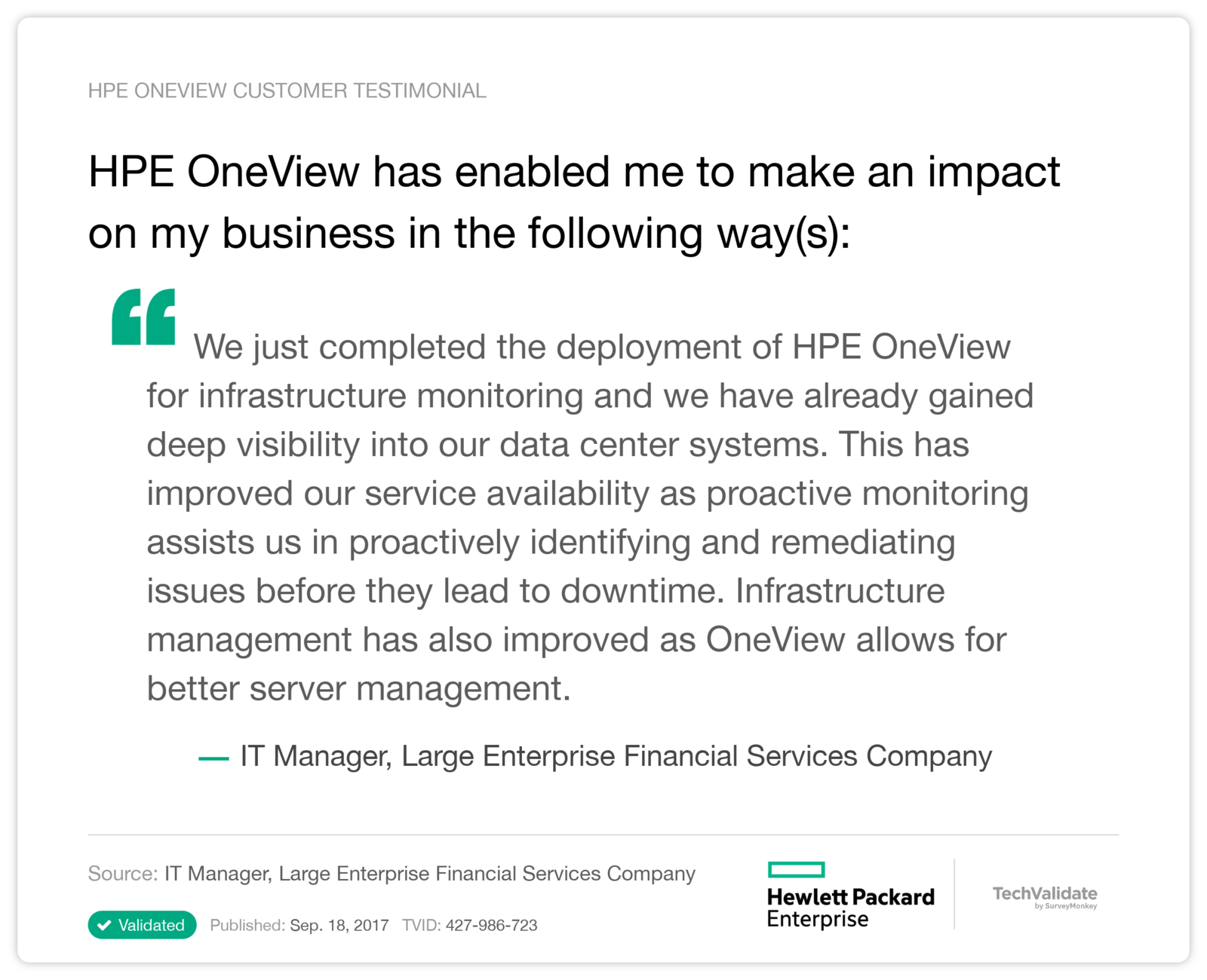 HPE OneView has enabled me to make an impact on my business in the following way(s):