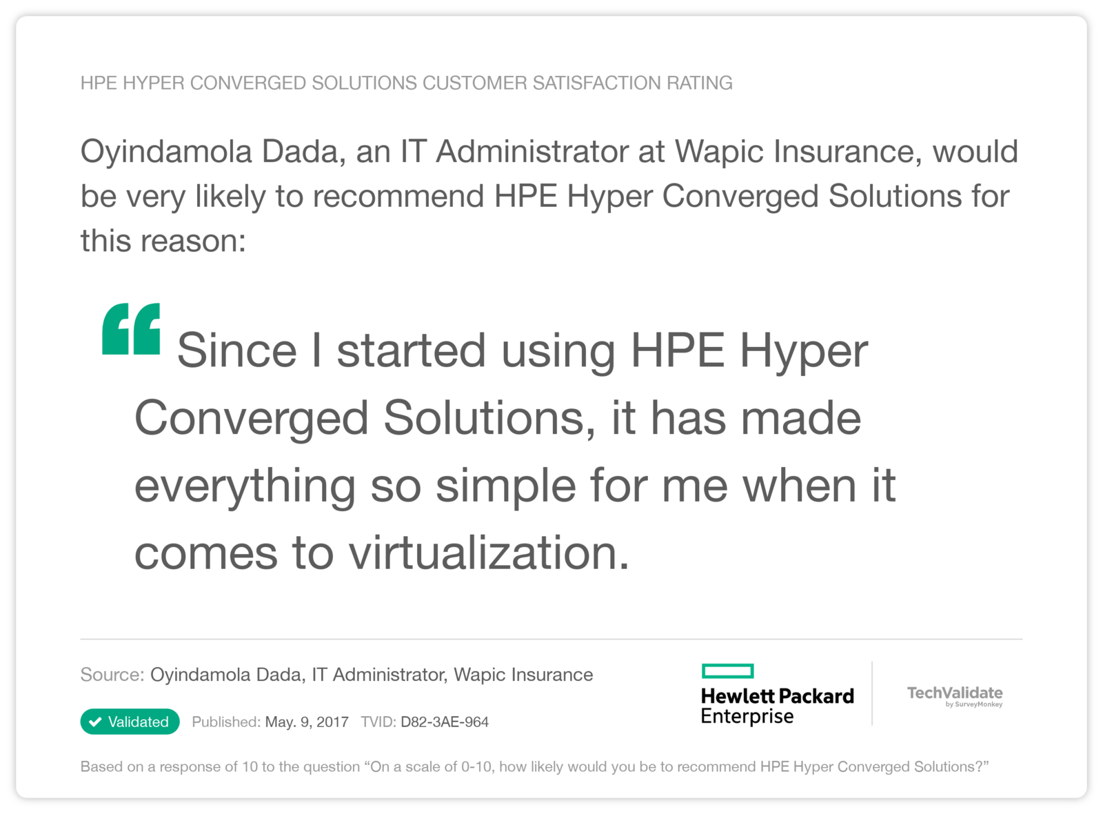 HPE Hyper Converged Solutions Customer Satisfaction Rating