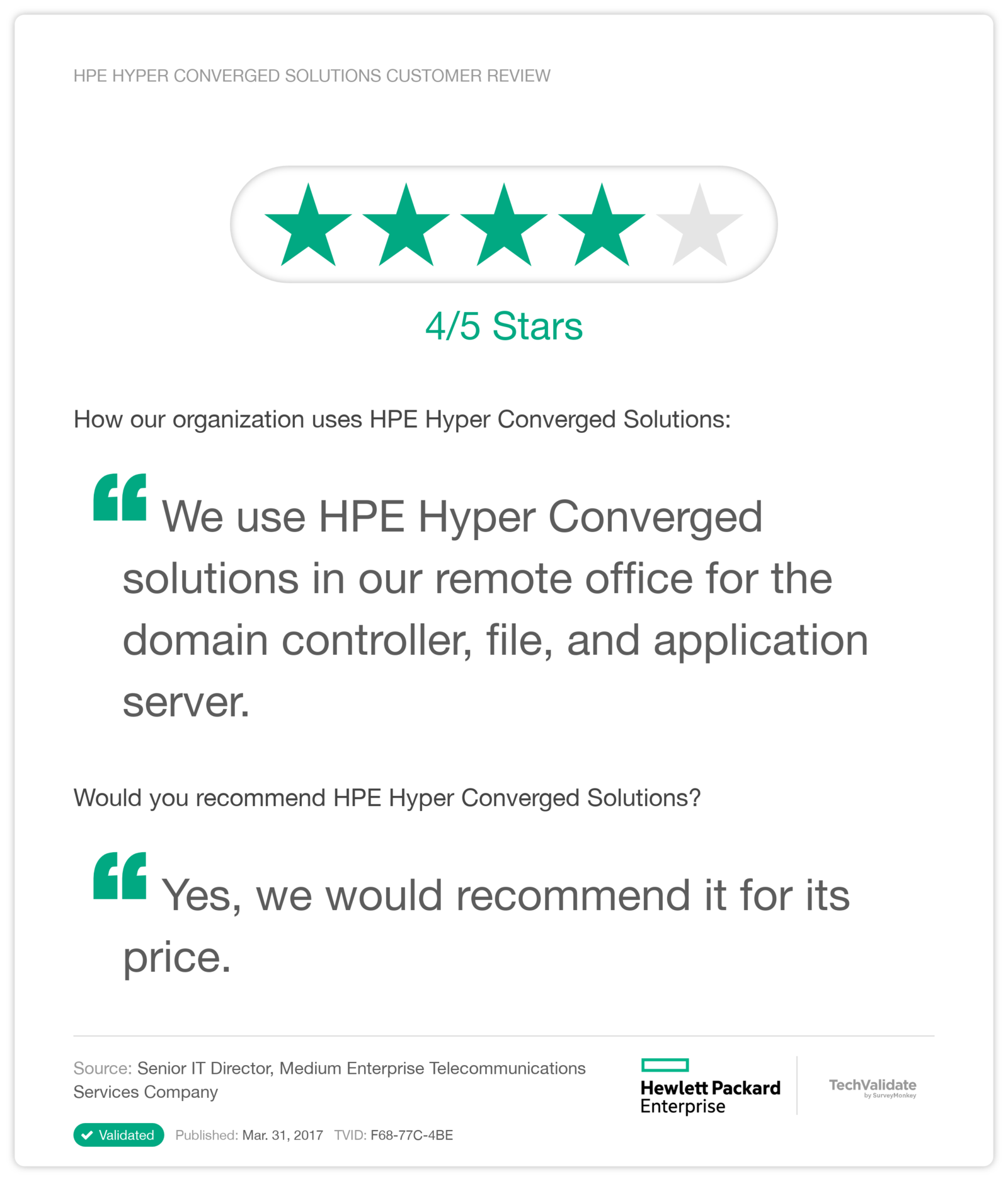 HPE Hyper Converged Solutions Customer Review