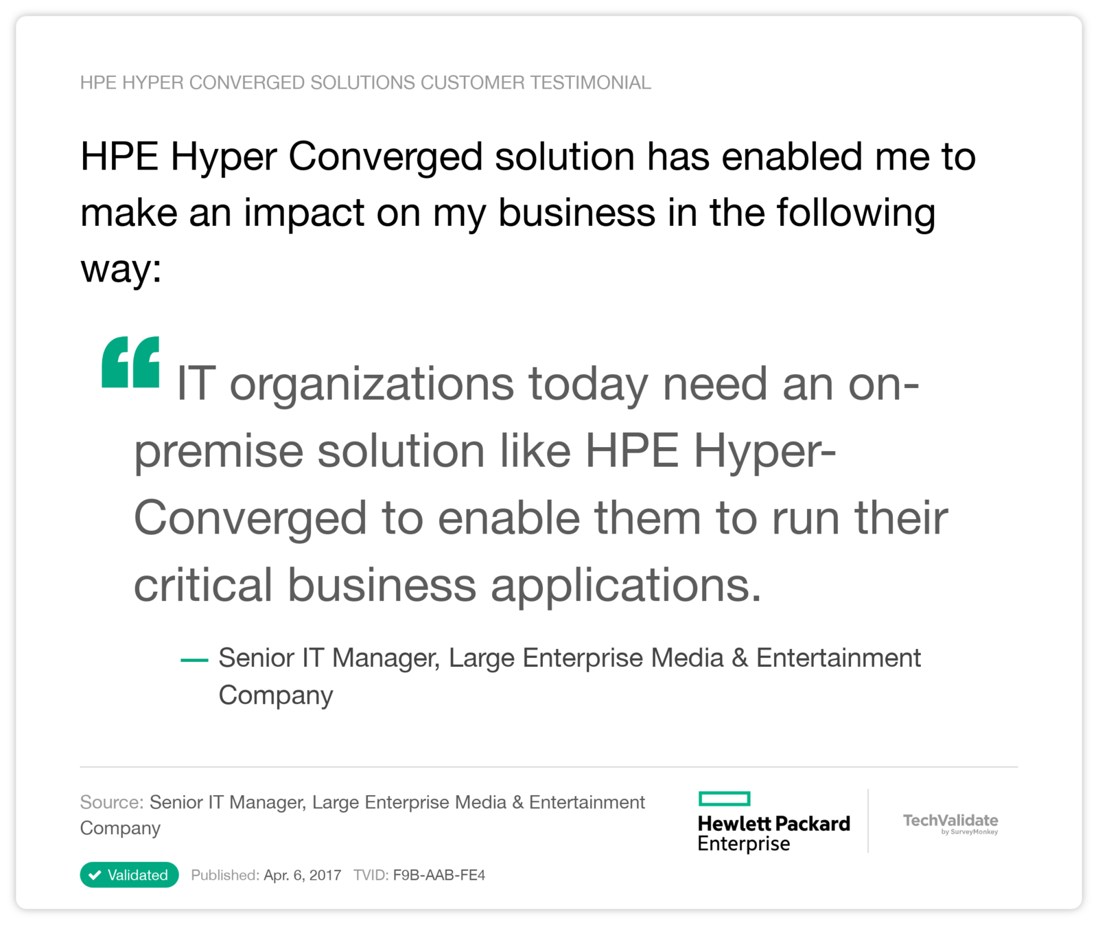 HPE Hyper Converged solution has enabled me to make an impact on my business in the following way: